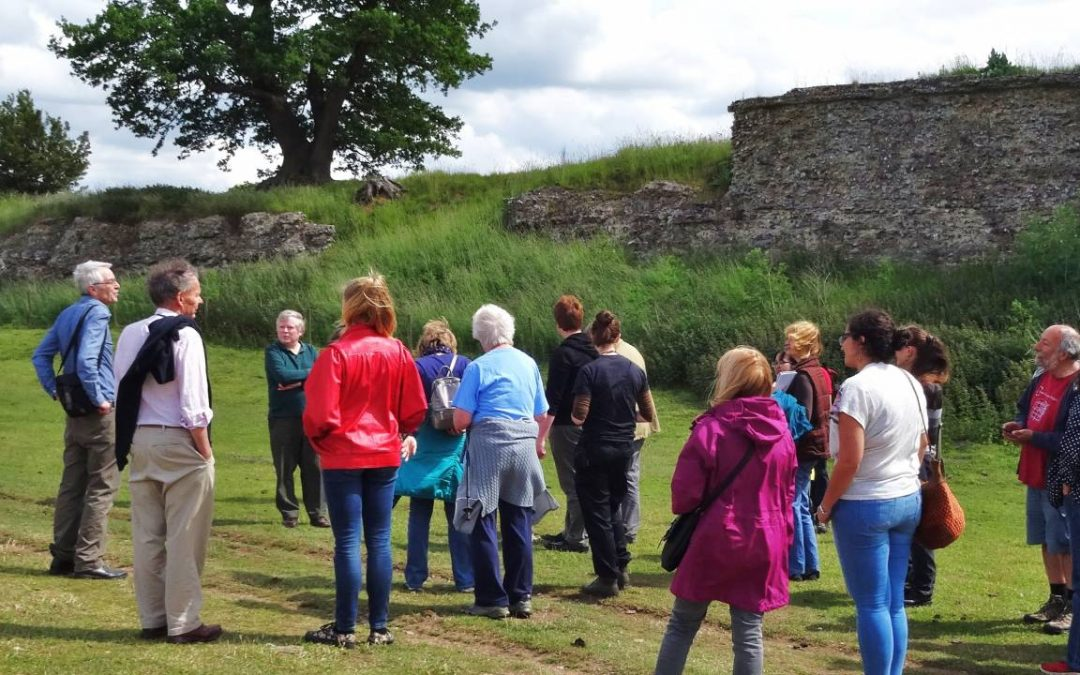 Guide and visitors at Caistor Roman Town